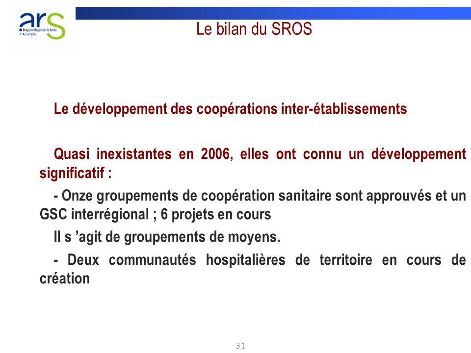 Le bilan du SROS Le développement des coopérations inter-établissements. Quasi inexistantes en 2006, elles ont connu un développement significatif :