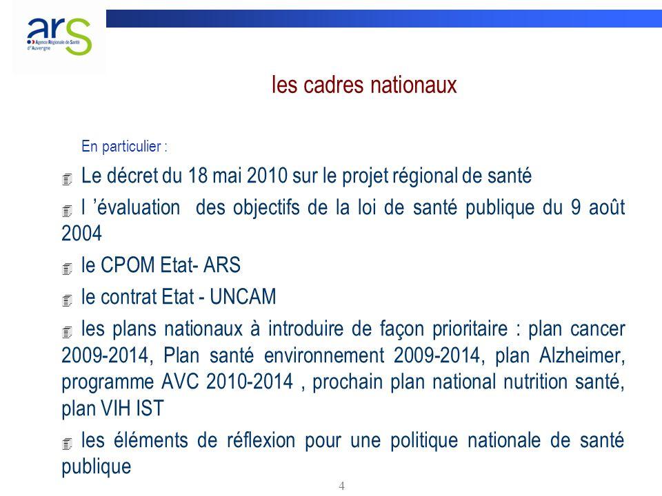 les cadres nationaux En particulier : Le décret du 18 mai 2010 sur le projet régional de santé.