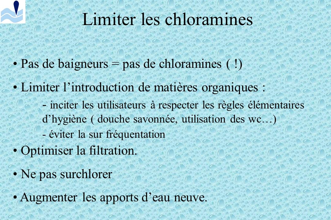 Limiter les chloramines