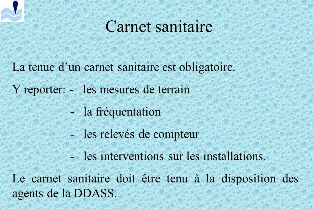 Carnet sanitaire La tenue d'un carnet sanitaire est obligatoire.