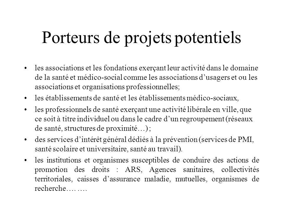 Porteurs de projets potentiels