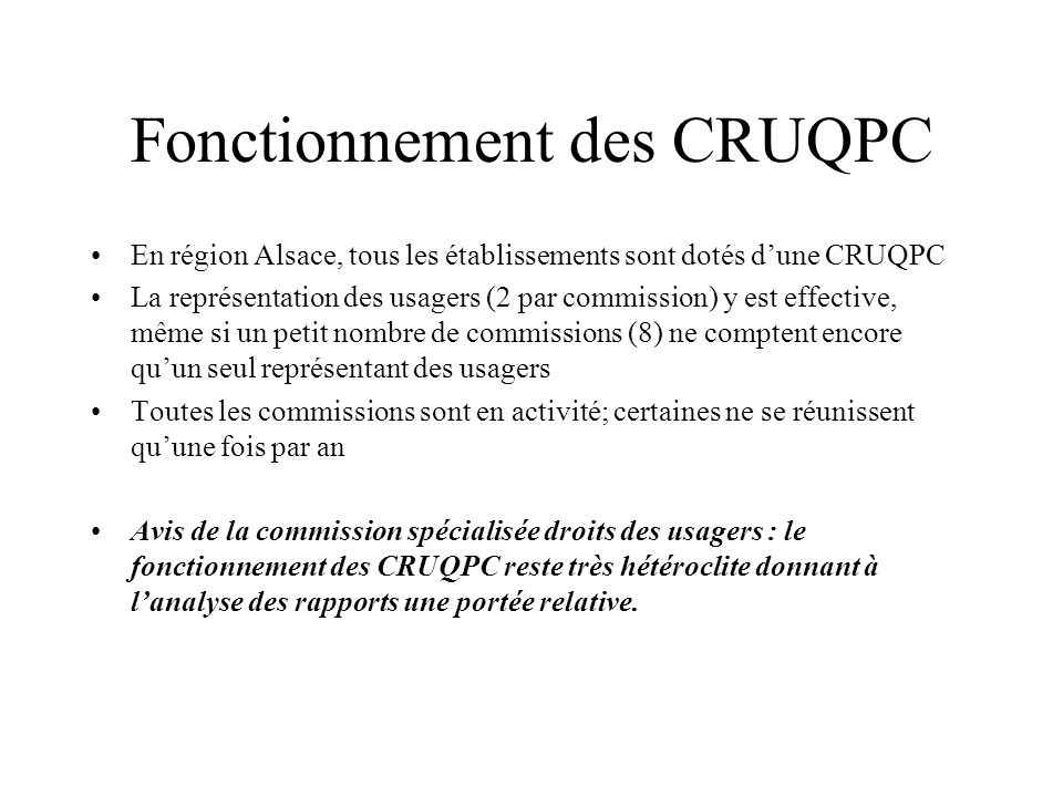 Fonctionnement des CRUQPC