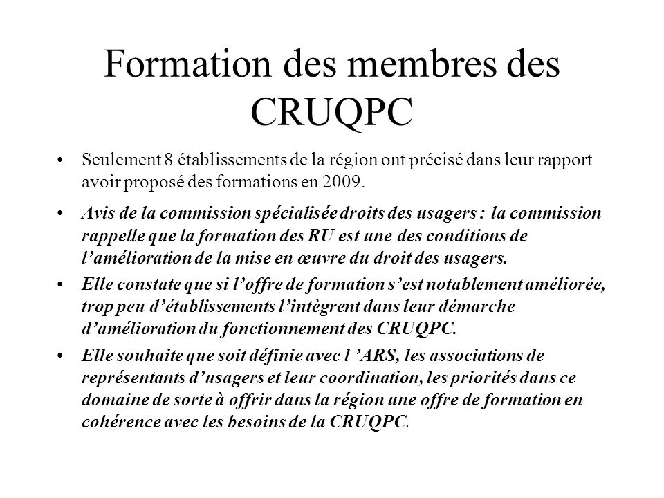 Formation des membres des CRUQPC