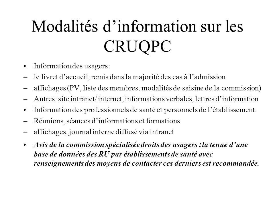 Modalités d'information sur les CRUQPC