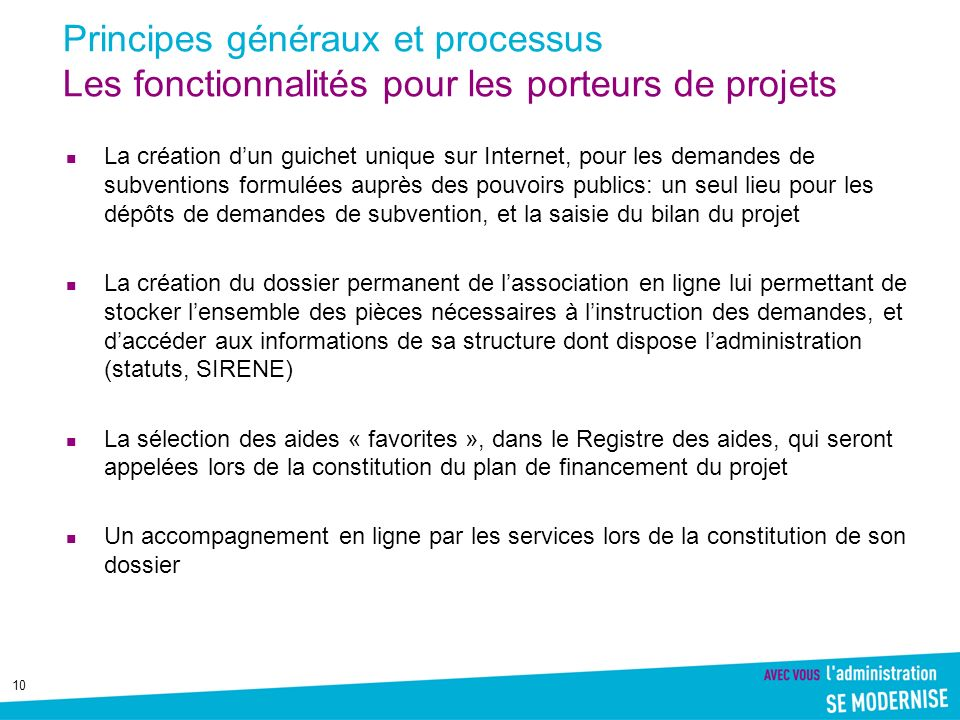 Principes généraux et processus Les fonctionnalités pour les porteurs de projets