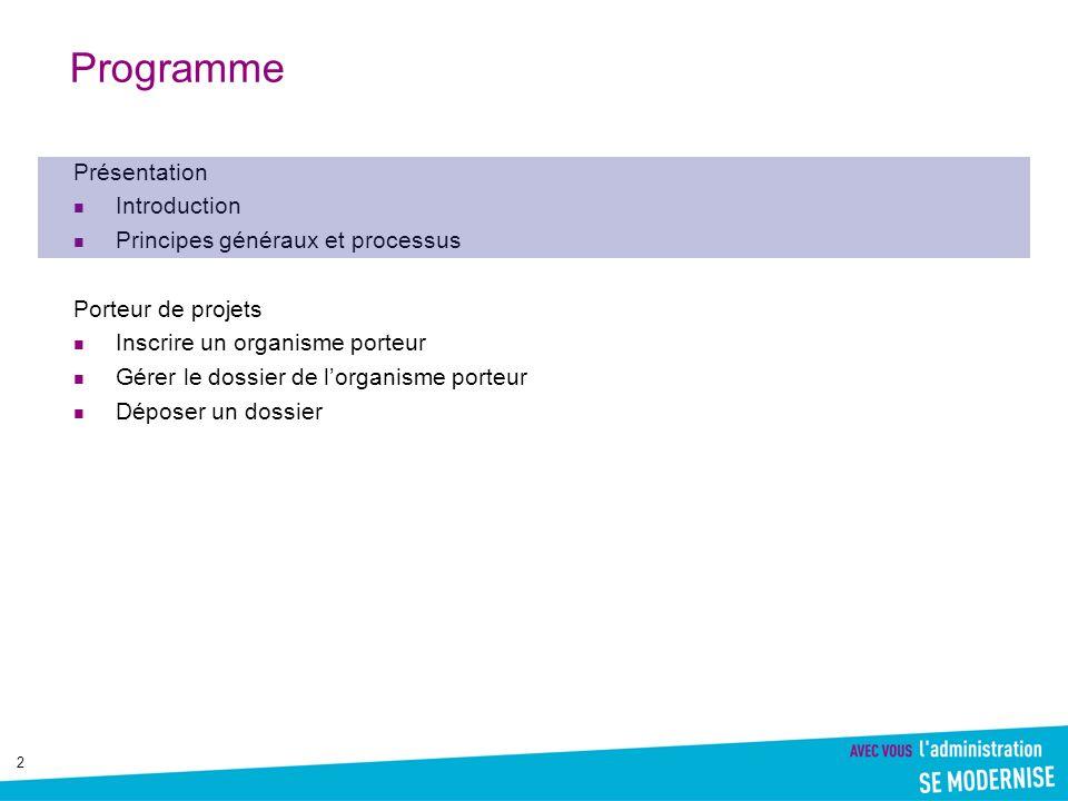 Programme Présentation Introduction Principes généraux et processus