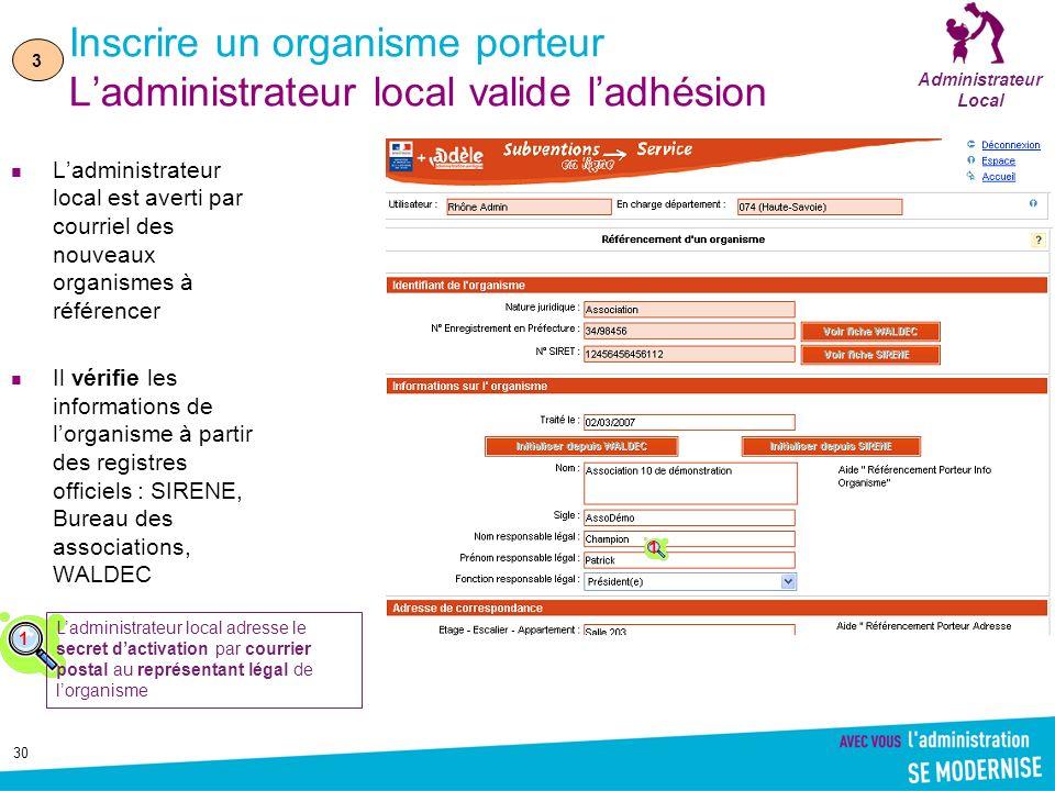 Inscrire un organisme porteur L'administrateur local valide l'adhésion