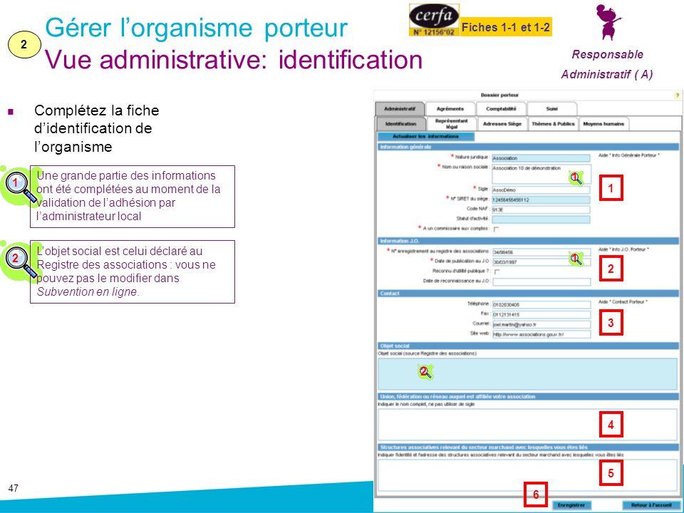 Gérer l'organisme porteur Vue administrative: identification