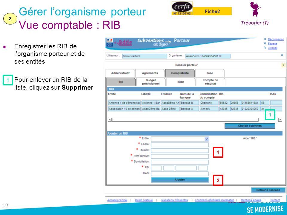 Gérer l'organisme porteur Vue comptable : RIB