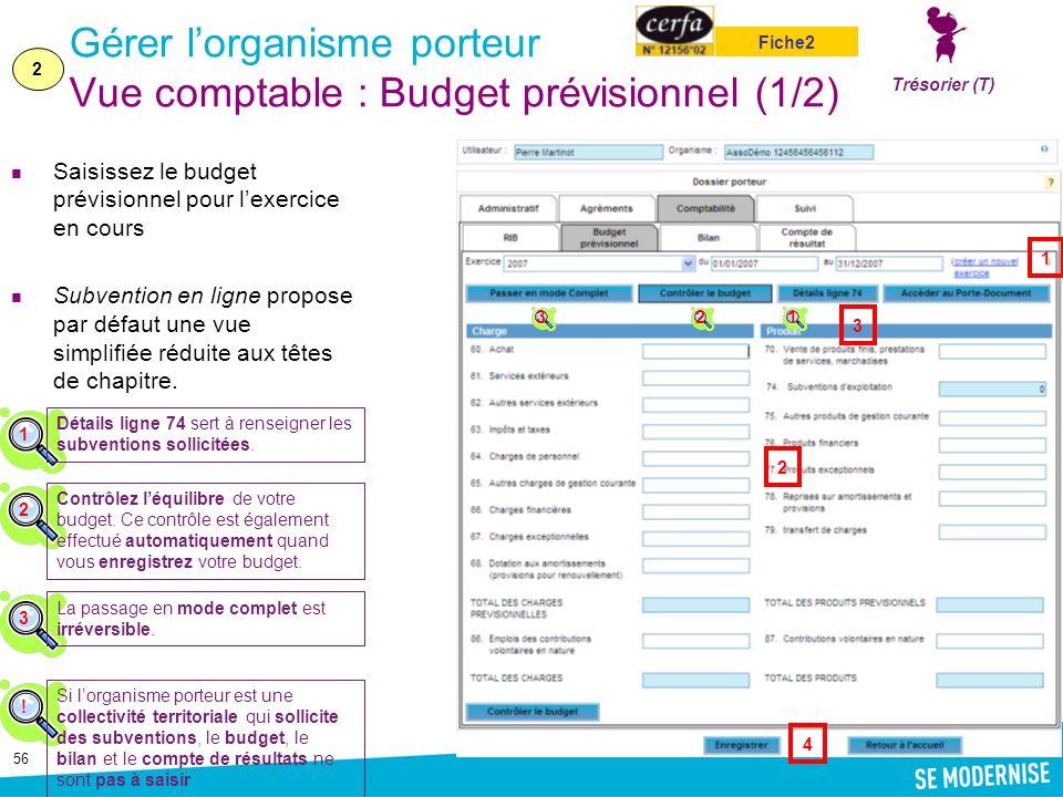 Gérer l'organisme porteur Vue comptable : Budget prévisionnel (1/2)