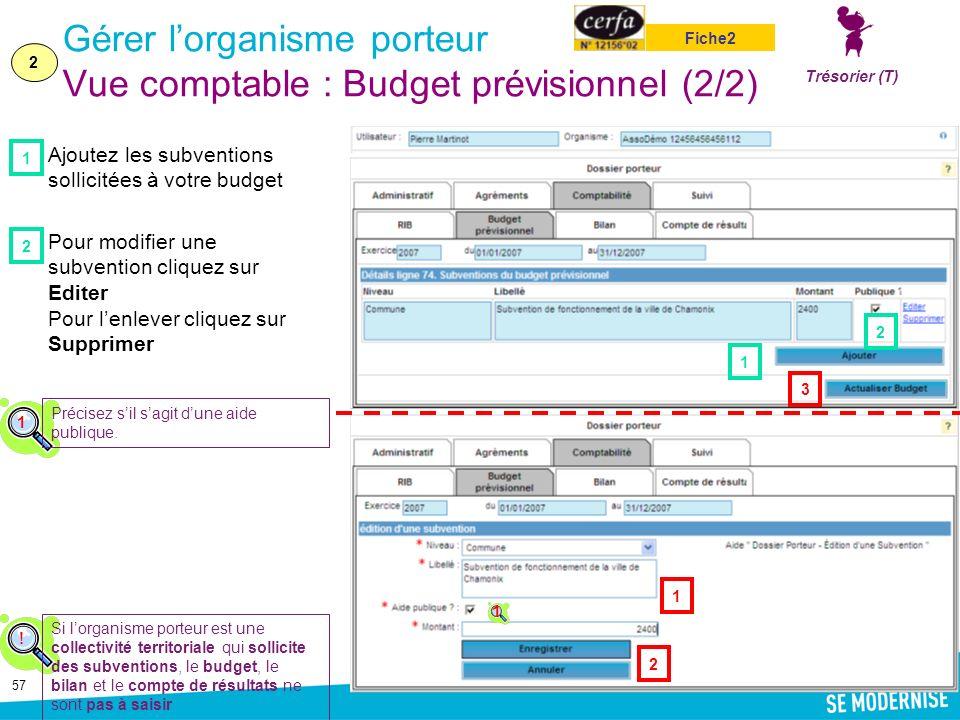 Gérer l'organisme porteur Vue comptable : Budget prévisionnel (2/2)