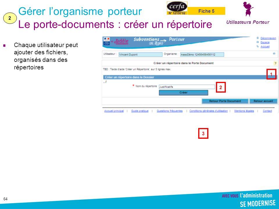 Gérer l'organisme porteur Le porte-documents : créer un répertoire
