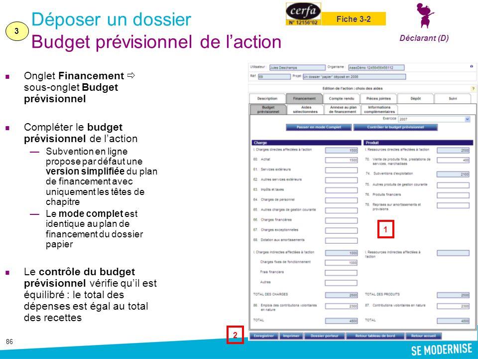 Déposer un dossier Budget prévisionnel de l'action
