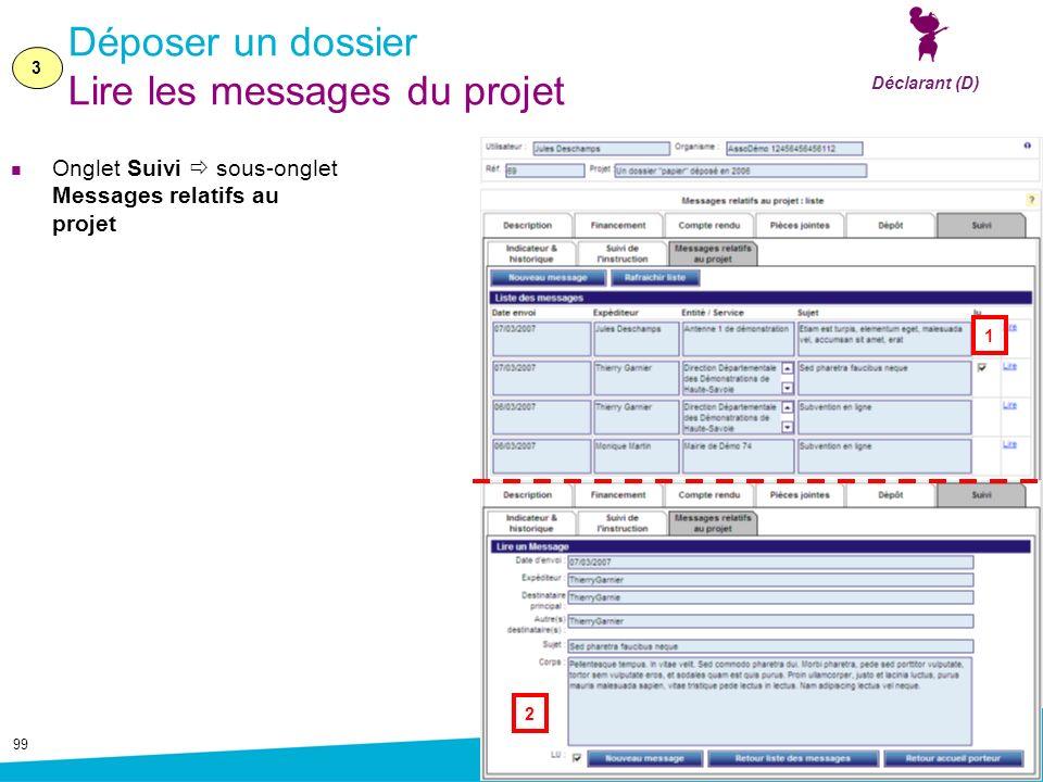 Déposer un dossier Lire les messages du projet