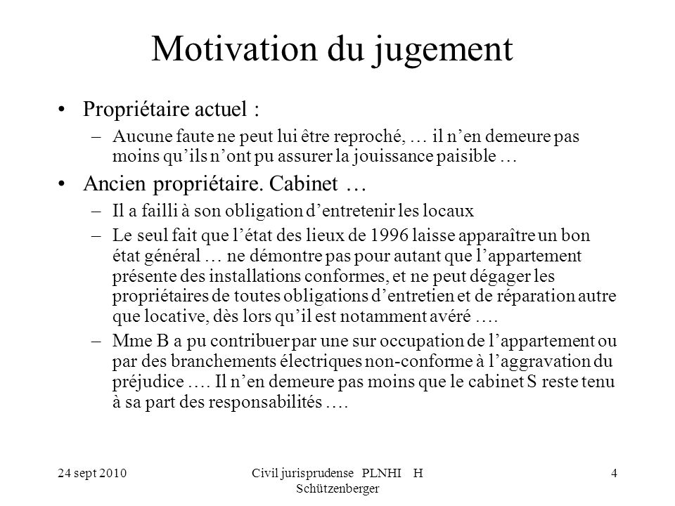 Motivation du jugement