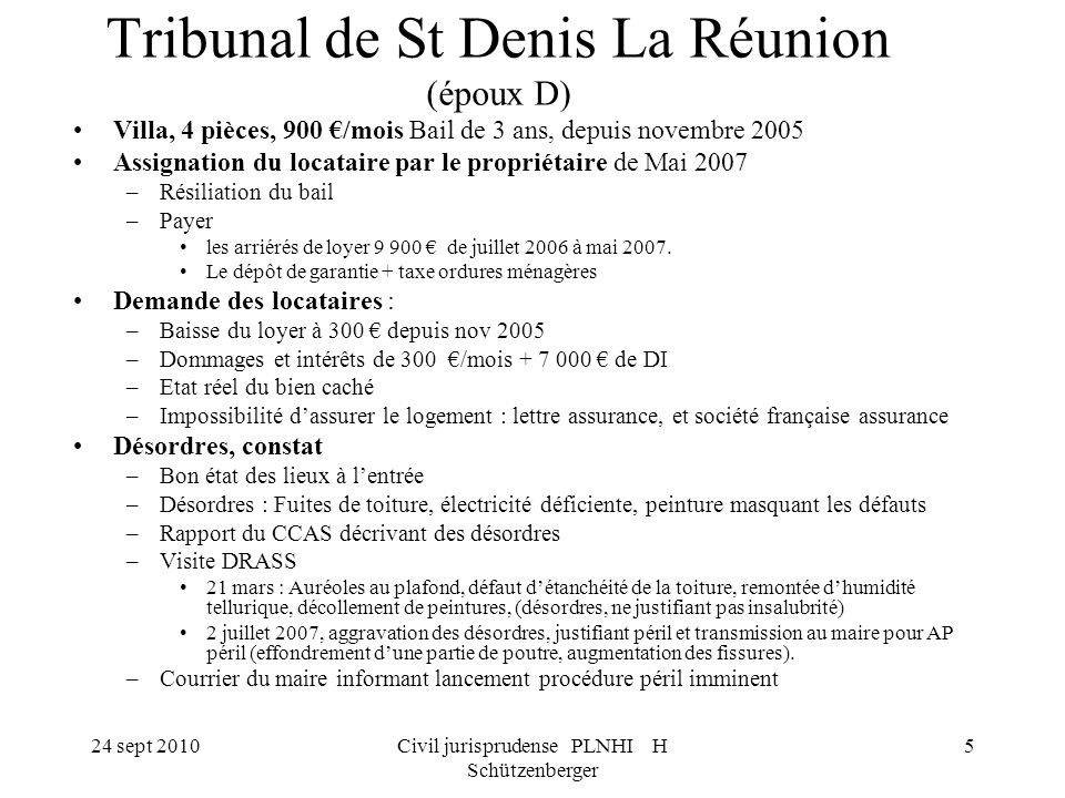 Tribunal de St Denis La Réunion (époux D)