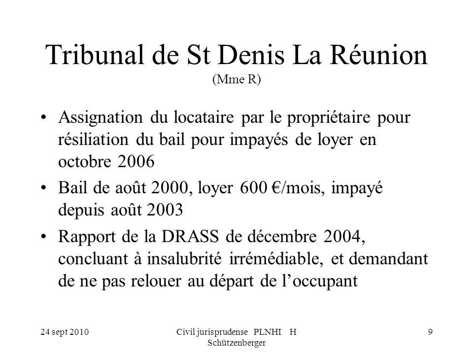 Tribunal de St Denis La Réunion (Mme R)