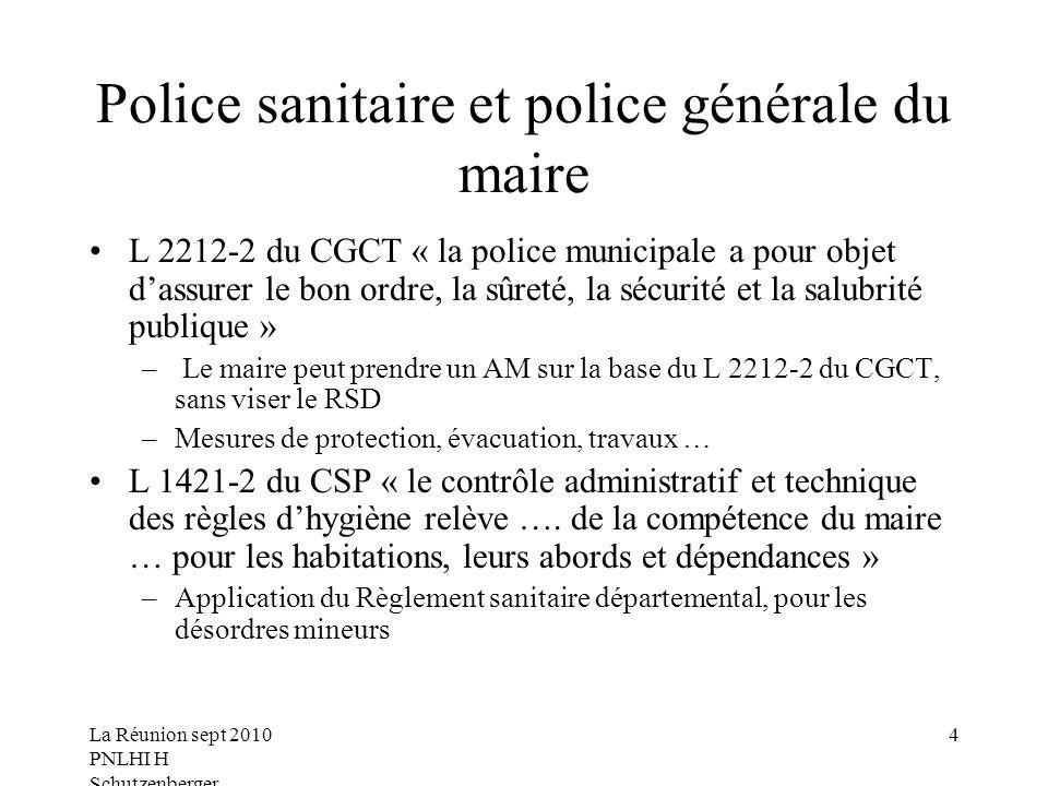 Police sanitaire et police générale du maire