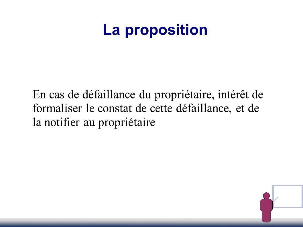 La proposition En cas de défaillance du propriétaire, intérêt de formaliser le constat de cette défaillance, et de la notifier au propriétaire.