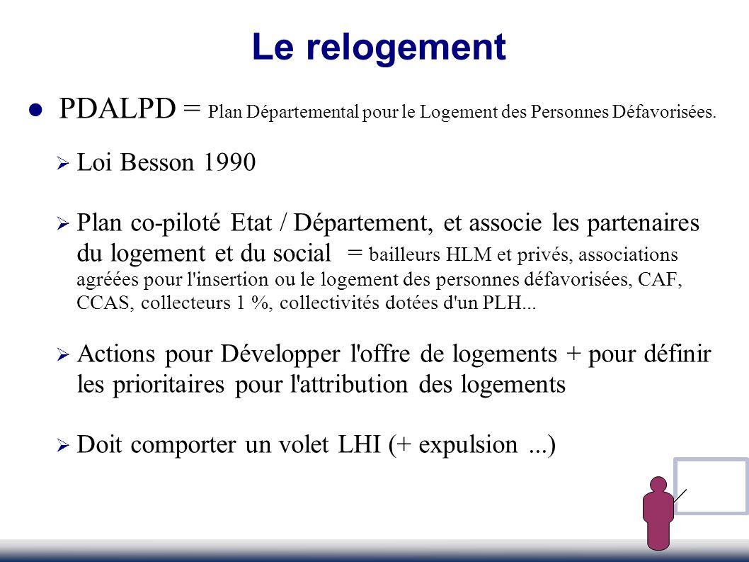 Le relogementPDALPD = Plan Départemental pour le Logement des Personnes Défavorisées. Loi Besson 1990.