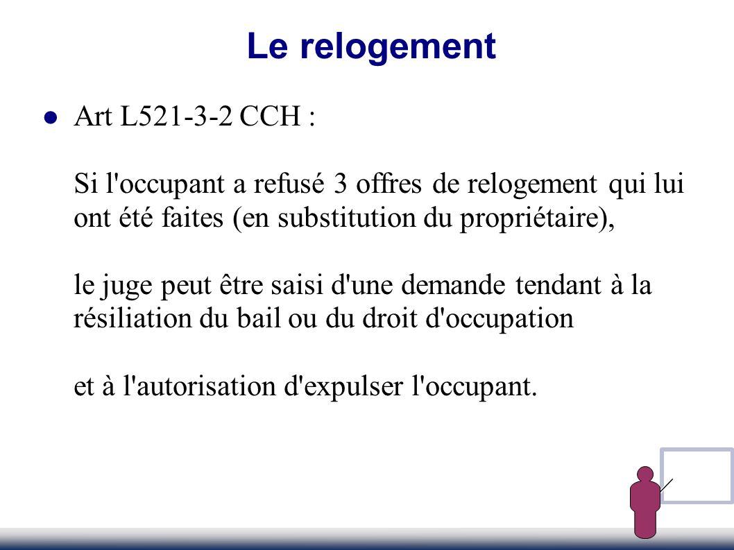 Le relogement Art L521-3-2 CCH :