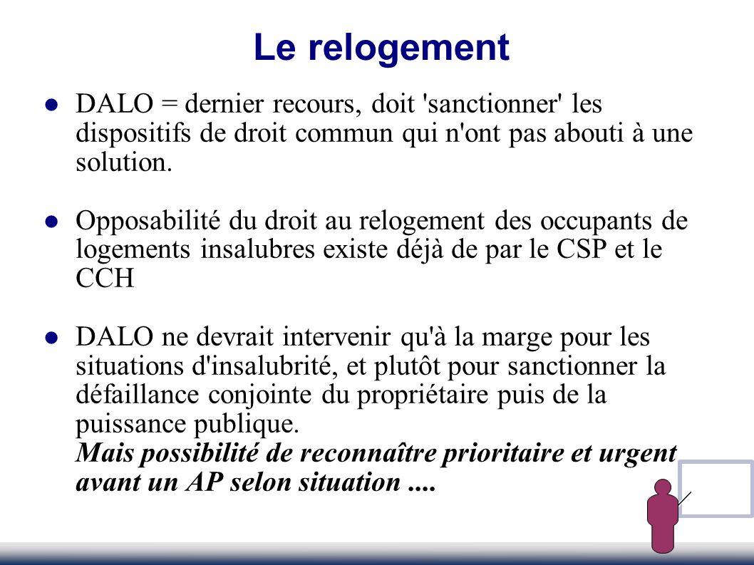 Le relogement DALO = dernier recours, doit sanctionner les dispositifs de droit commun qui n ont pas abouti à une solution.