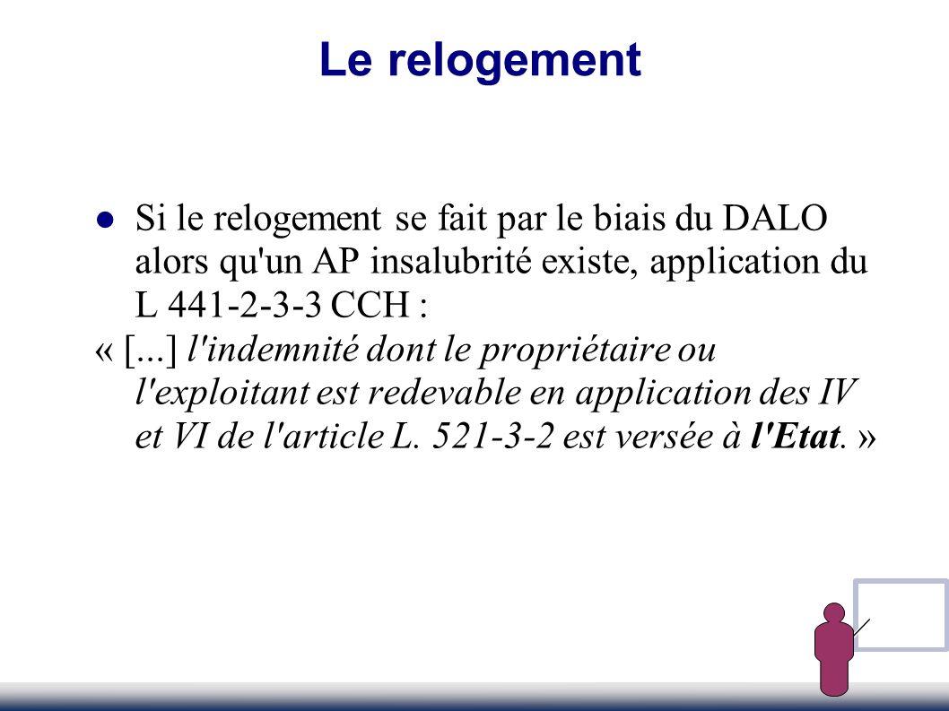 Le relogement Si le relogement se fait par le biais du DALO alors qu un AP insalubrité existe, application du L 441-2-3-3 CCH :