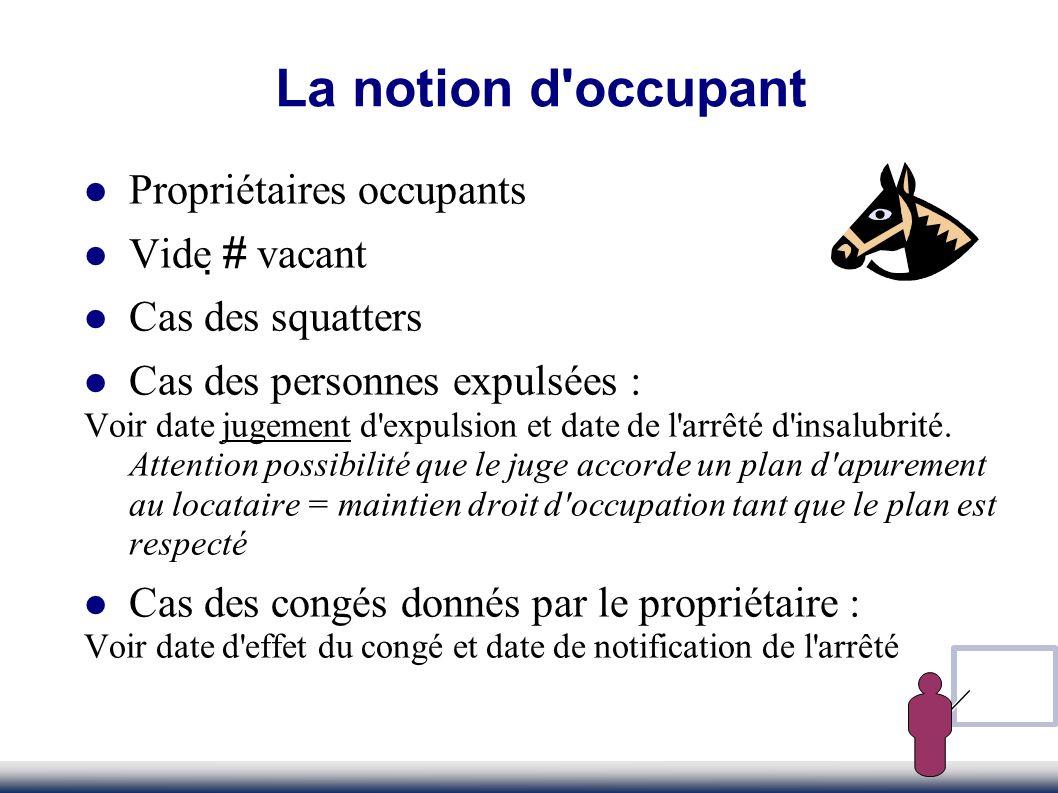 La notion d occupant Propriétaires occupants Vide # vacant