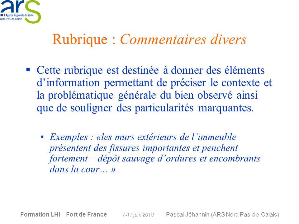 Rubrique : Commentaires divers