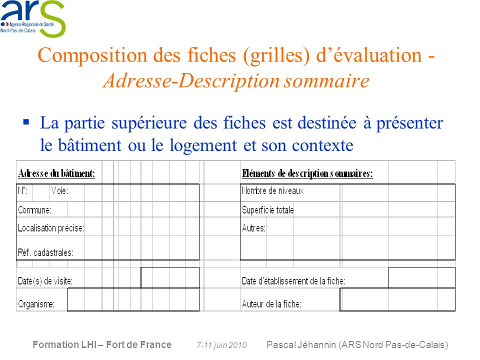 Composition des fiches (grilles) d'évaluation -Adresse-Description sommaire