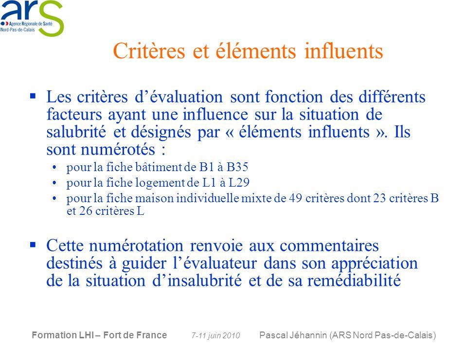 Critères et éléments influents