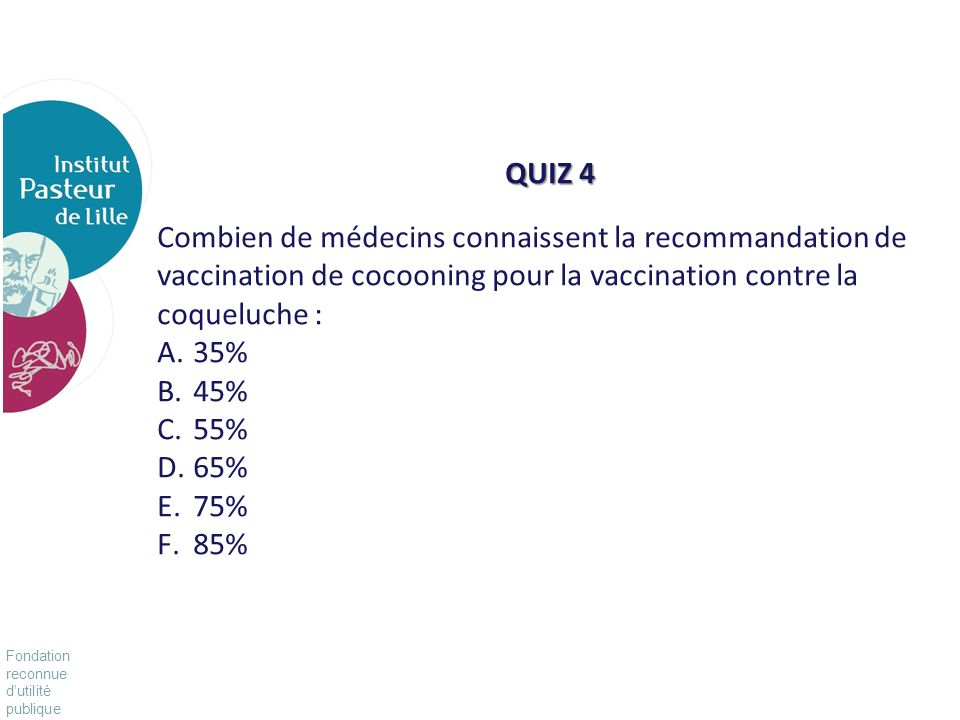 QUIZ 4 Combien de médecins connaissent la recommandation de vaccination de cocooning pour la vaccination contre la coqueluche :
