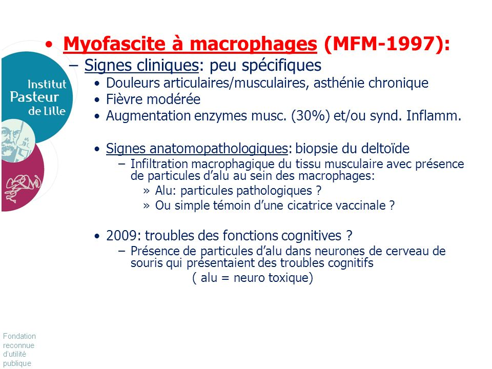 Myofascite à macrophages (MFM-1997):