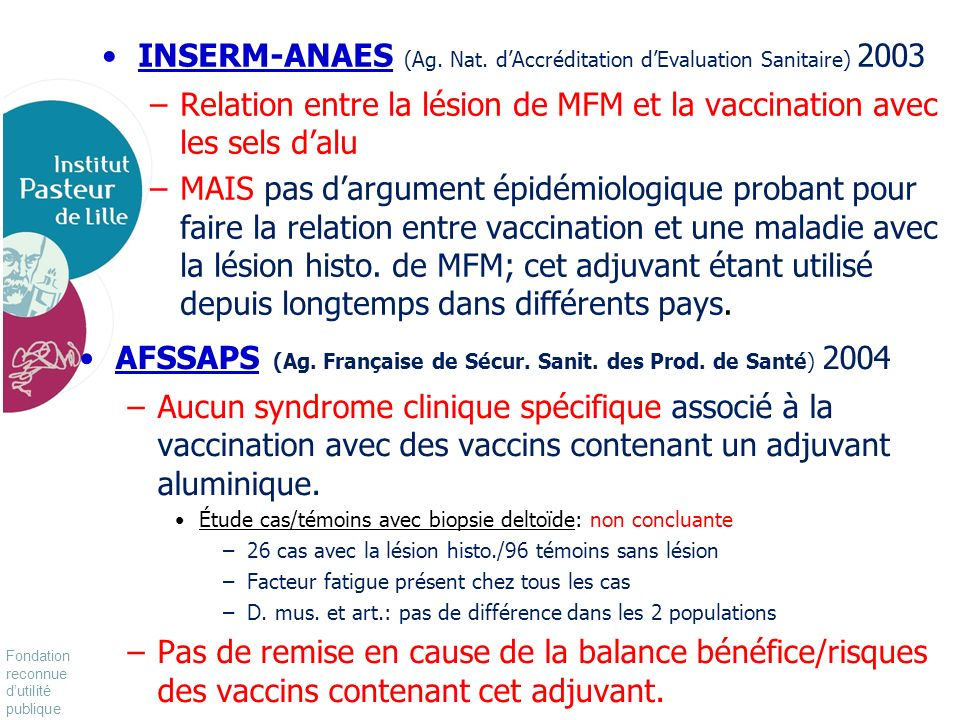 INSERM-ANAES (Ag. Nat. d'Accréditation d'Evaluation Sanitaire) 2003