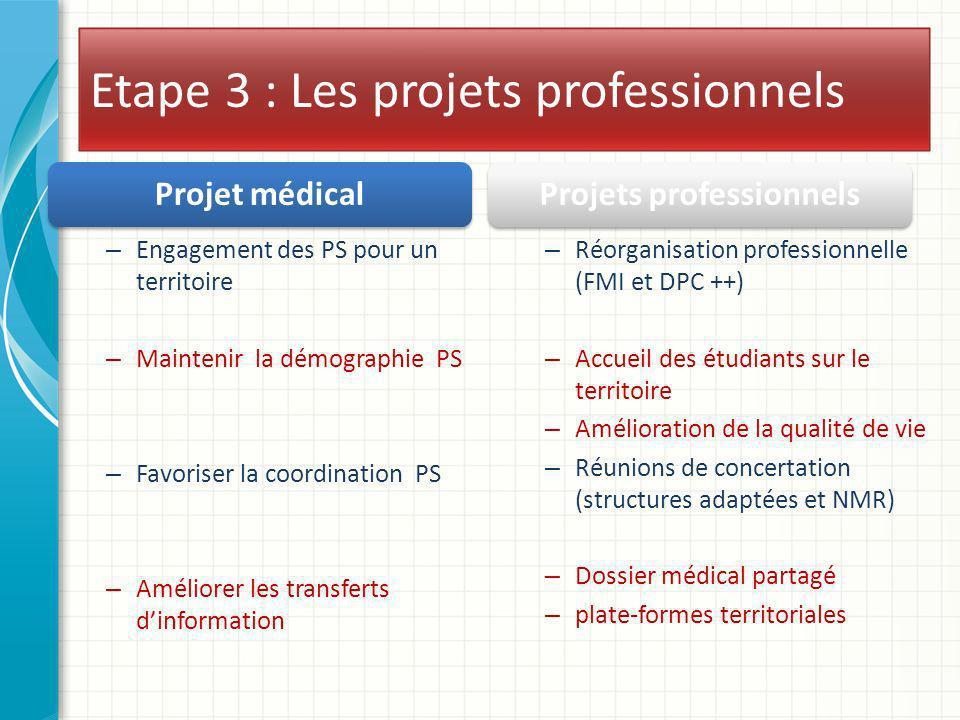 Etape 3 : Les projets professionnels