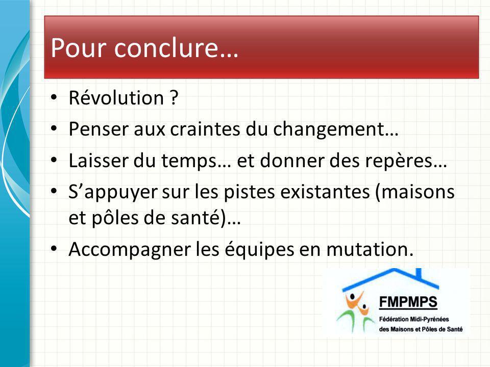 Pour conclure… Révolution Penser aux craintes du changement…