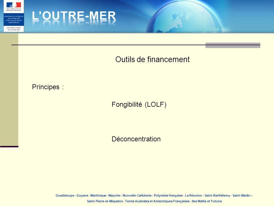 Outils de financement Principes : Fongibilité (LOLF) Déconcentration