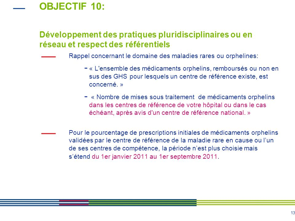OBJECTIF 10: Développement des pratiques pluridisciplinaires ou en réseau et respect des référentiels