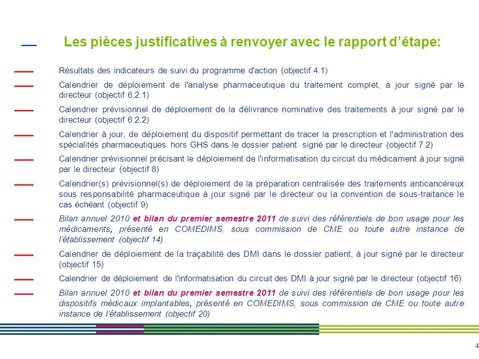 Les pièces justificatives à renvoyer avec le rapport d'étape: