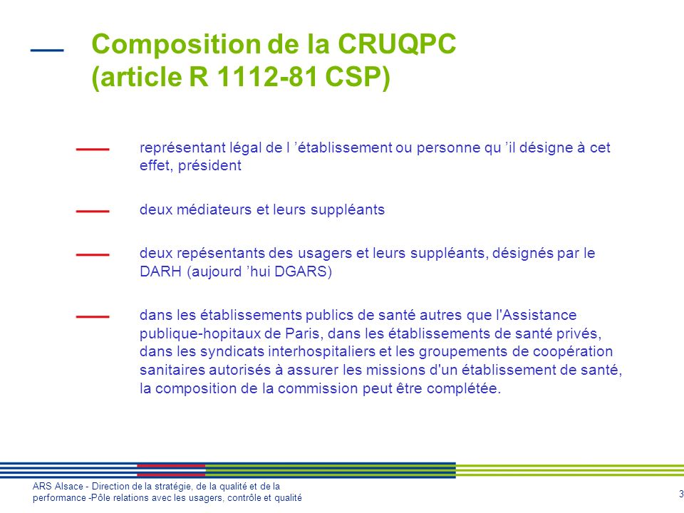 Composition de la CRUQPC (article R 1112-81 CSP)