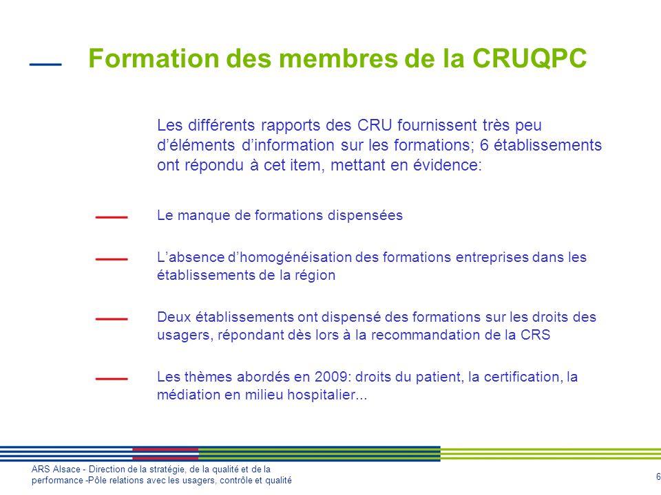 Formation des membres de la CRUQPC