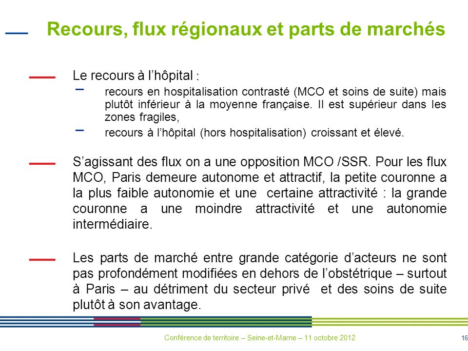 Recours, flux régionaux et parts de marchés
