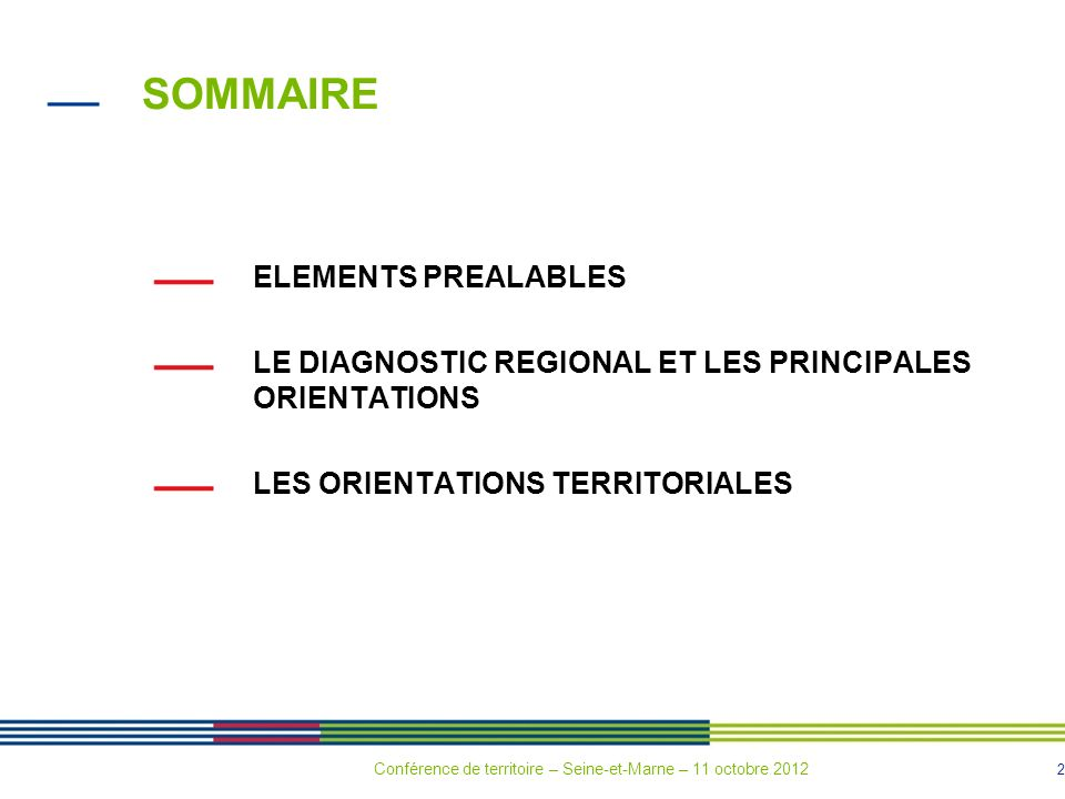 SOMMAIRE ELEMENTS PREALABLES
