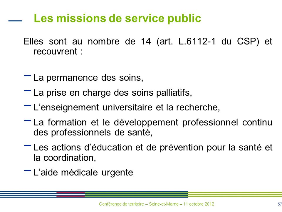 Les missions de service public