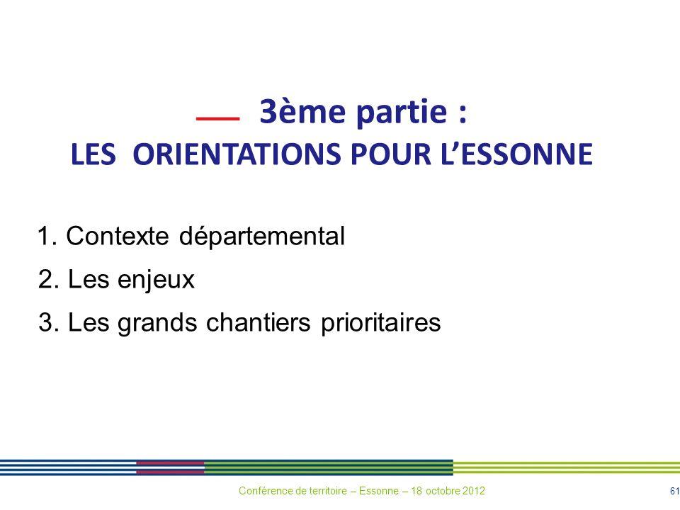 LES ORIENTATIONS POUR L'ESSONNE