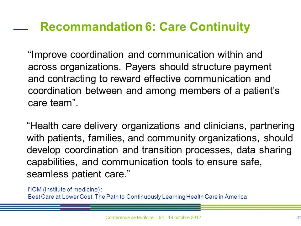 Recommandation 6: Care Continuity