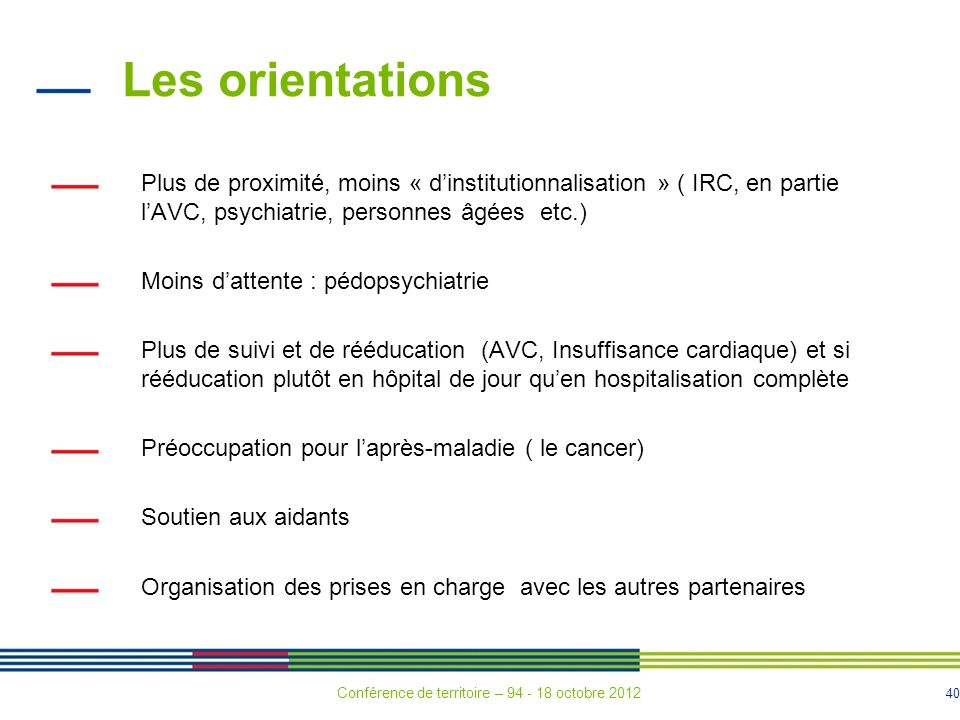 Les orientations Plus de proximité, moins « d'institutionnalisation » ( IRC, en partie l'AVC, psychiatrie, personnes âgées etc.)