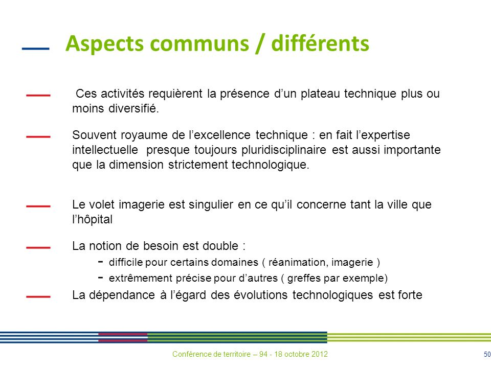 Aspects communs / différents