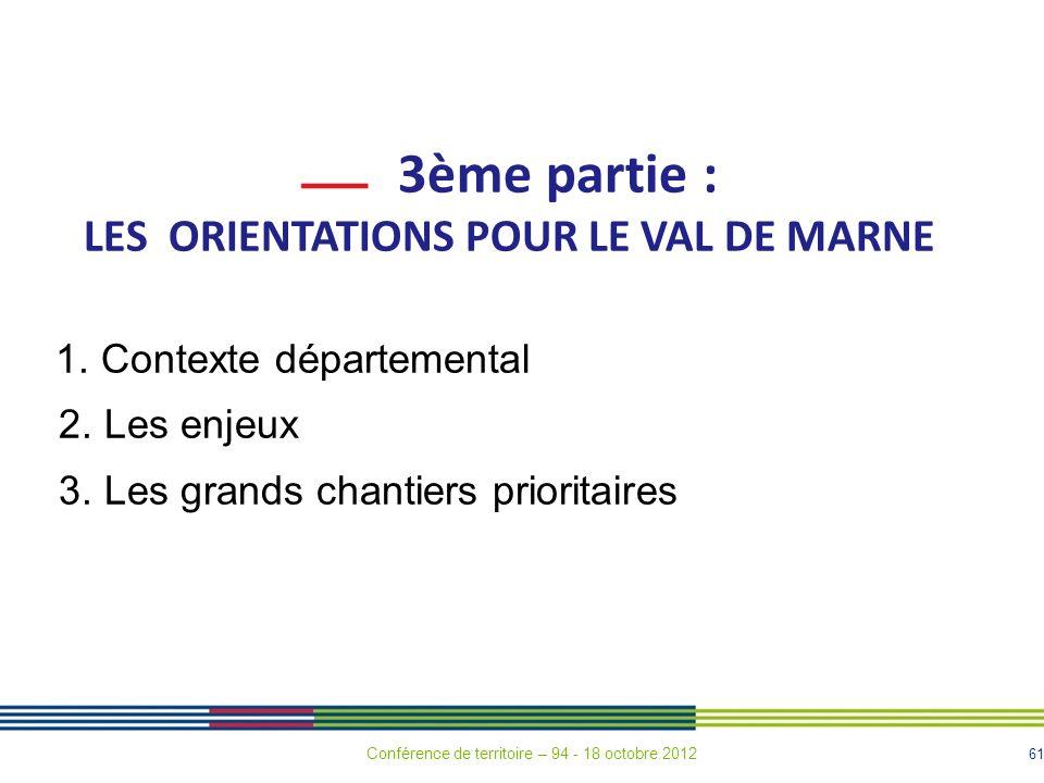 LES ORIENTATIONS POUR LE VAL DE MARNE