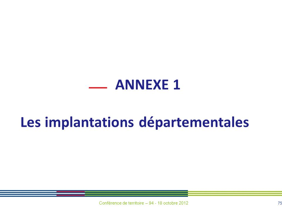 Les implantations départementales